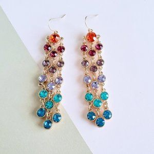 Mixed color crystal statement earrings